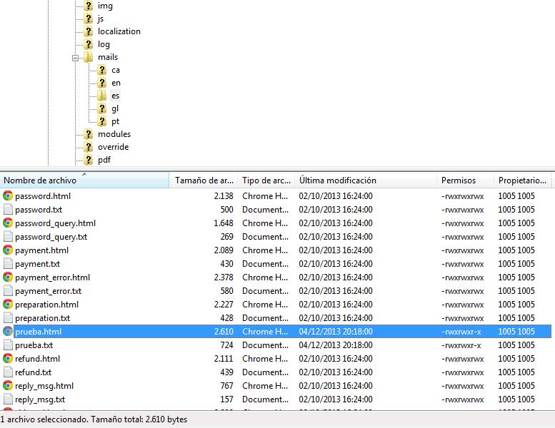 KLOSIONS - Prestashop – Modificar, editar y crear plantillas de email