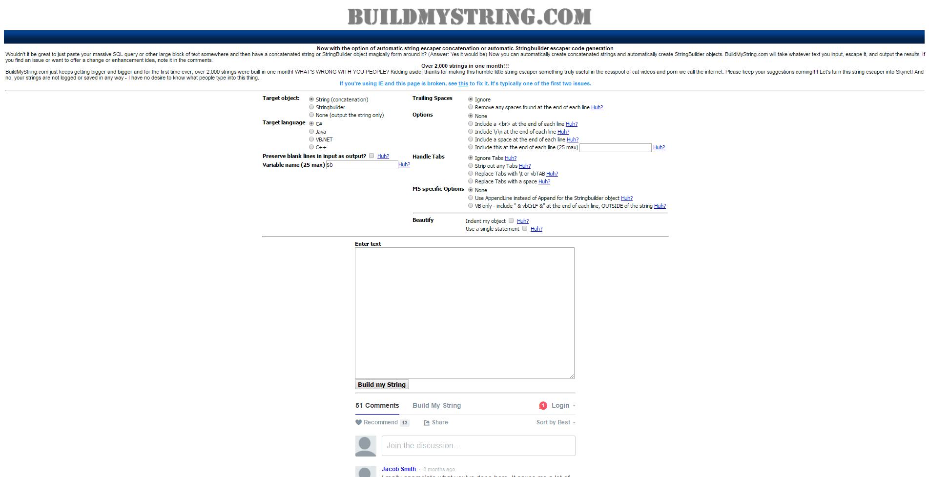 buildmystring
